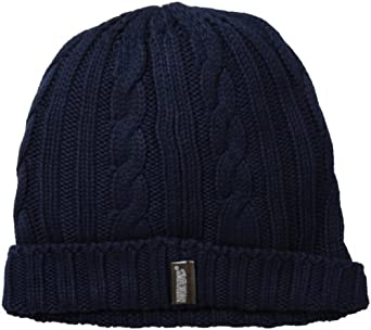 Muk Luks Men's Knit Cable Cuff Hat, Navy, One Size