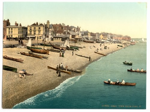 1890s photo View from pier W, Deal, England. Photochrom (also called the Aäc process) prints are col