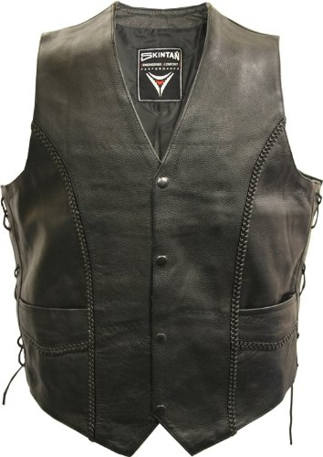 Mens Real Leather Lace Sided Braided Motorcycle Waistcoat Vest - WEAVER