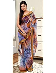 Utsav Fashion Women's Multicolor Faux Georgette Saree With Blouse - B00IYIJMCW