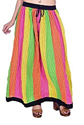 MSONS Women's Fusion Wear 24 Kali Multi Printed Long Maxi Skirt in Cotton Fabric - Free Size