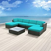 Hot Sale Luxxella Outdoor Patio Wicker MALLINA Sofa Sectional Furniture 7pc All Weather Couch Set TURQUOISE