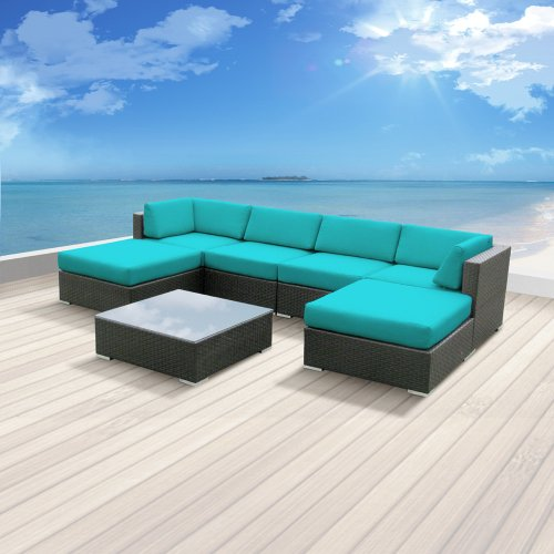 Luxxella Patio Mallina Outdoor Wicker Furniture 7-Piece All Weather Couch Sofa Set, Turquoise picture