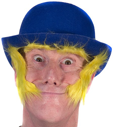 HMS Clown Derby Hat with Self Adhesive Sideburns, Blue, One Size - 1