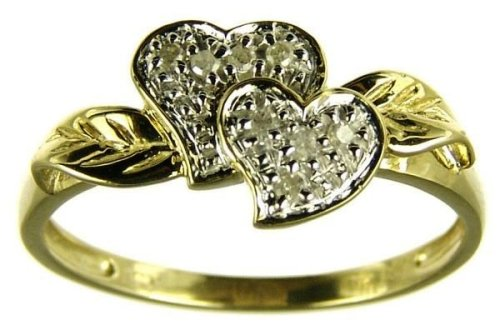 9ct Yellow Gold Ladies' 5 Points Diamond Set Double Heart and Leaf Ring Size P