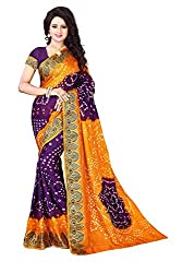 Amazing Purple Colored Bandhani Saree