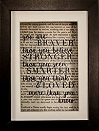 You Are Braver Than You Believe Winnie The Pooh Christopher Robins Inspirational Quote Upcycled unframed