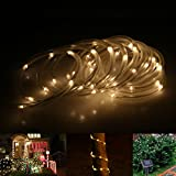 LE® Solar Rope Lights, 23ft, Waterproof, 50 LEDs, 1.2 V, Warm White, Portable, with Light Sensor, Outdoor Rope Lights, Ideal for Christmas, Wedding, Party
