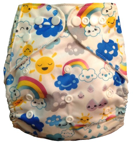 Buckwheat Babies Eco-Friendly Double Gusset Cloth Diaper (Cheerful Skies)