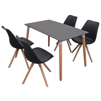vidaXL 5-tlg. Essgruppe Sitzgruppe Tischset Esszimmer Stuhle Esstischset Schwarz