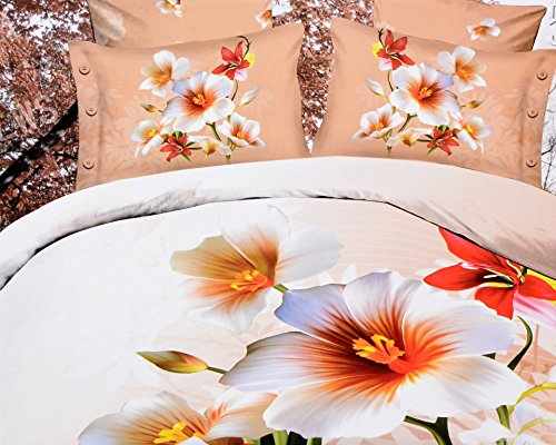 Valtellina Valtellina Attractive Hibisicus Floral 4D Print Double Bed Sheet