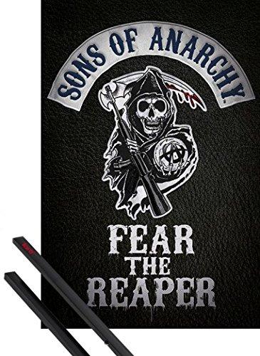 Poster + Sospensione : Sons Of Anarchy Poster Stampa (91x61 cm) Fear The Reaper e Coppia di barre porta poster nere 1art1®