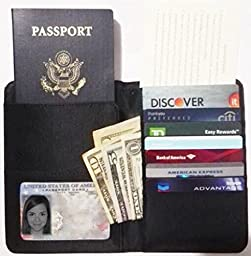 Mayflower CNF Travel - 1*Oxford Fabric Luggage Travel Passport Wallet 1 *RFID Blocking Credit Card Sleeve 1 *Passport Protector for Protect And Secure Your Identity Against Radio Frequency - M*Black