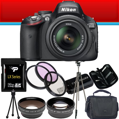 Nikon D5100 16.2MP CMOS Digital SLR Camera with 18-55mm f/3.5-5.6G VR Lens 32GB Bundle !