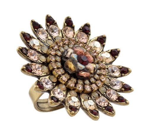 Michal Negrin Marvelous Ring Embellished with a Center Hand Painted Flower surrounded by Vintage Inspired Petals, Bordeaux, Beige and Ivory Swarovski Crystals