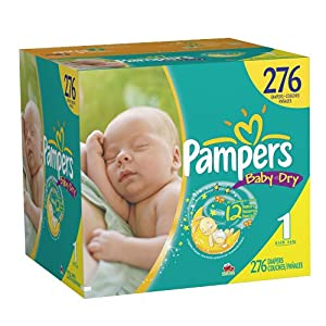Pampers Baby Dry Diapers,Size 1, Count 276 $36.75