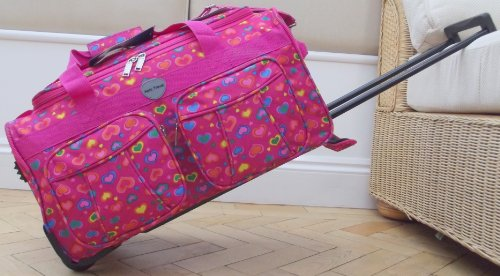 Travel Holdall small bag CABIN APPROVED Carry On Wheels Pink hearts trolley hand Luggage Girls