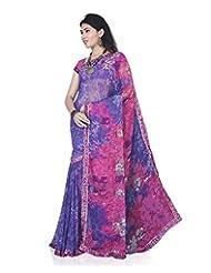 Aadarshini Women's Faux Georgette Saree (1071, Pink And Purple)