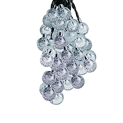 LED String Fairy Lights 60 Crystal Ball, Satu Brown 36ft 11M Festive Patio Solar Globe Lights Outdoor Lighting for Valentines Decorations Christmas Party, Garden , Camping, Yard Deck