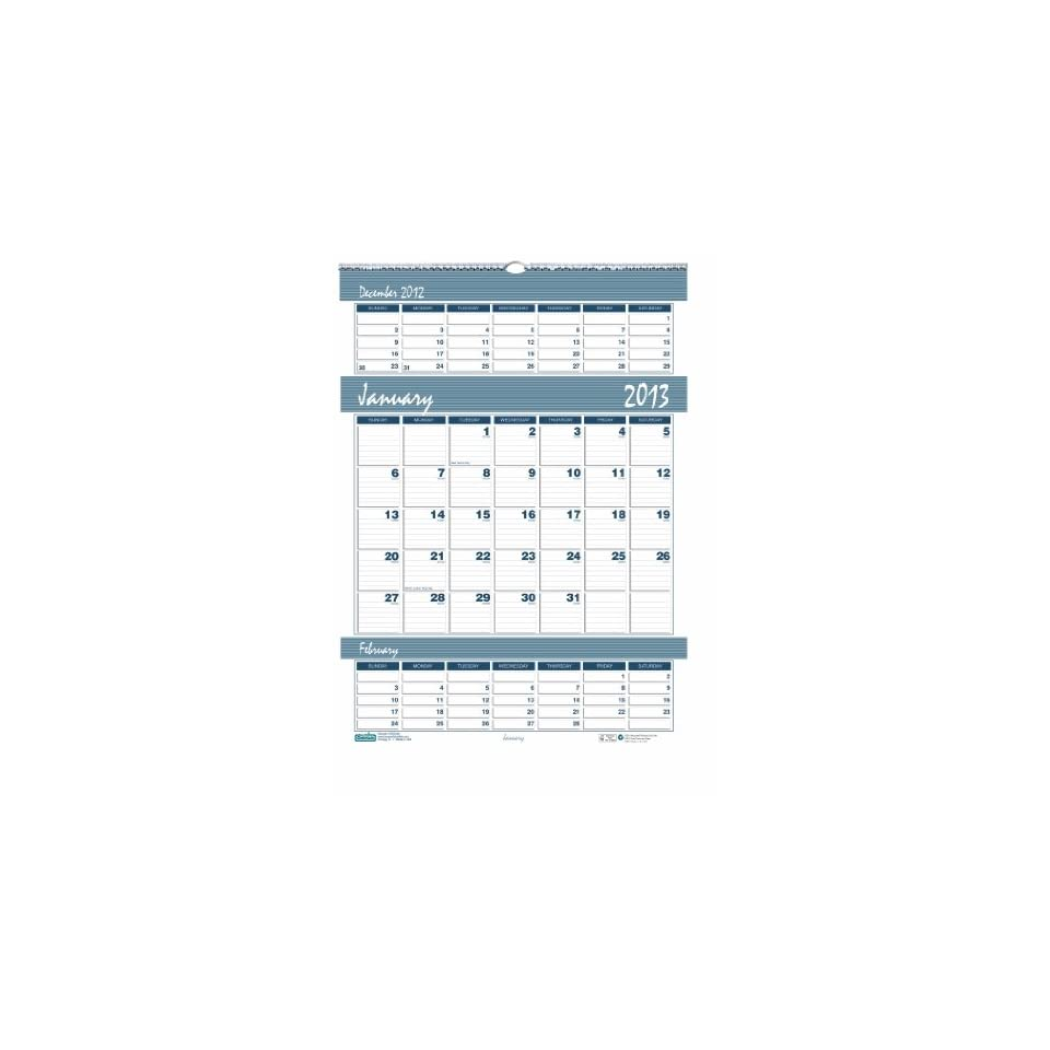 House of Doolittle Bar Harbor Triple Month Wall Calendar 12 Months January 2013 to December 2013, 12 x 17 Inches, Wedgwood Blue, Recycled (HOD342)