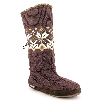 Muk Luks 17822 Fashion Mid-Calf Boot - Chocolate/Ivory, 6