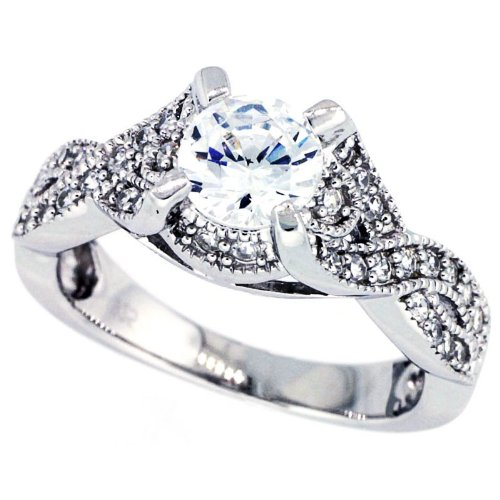 14K White Gold Rhodium Plated Sterling Silver Wedding & Engagement Ring Vintage Style Solitaire Ring For Women 8MM ( Size 6 to 9) Size 8