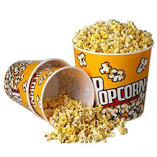 [Novelty Place] Retro Style Plastic Popcorn Containers for Movie Night - 7.25