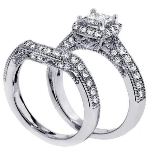 2 00 CT TW Halo Designer Princess Cut Diamond Engagement Bridal Set in 14k Wh