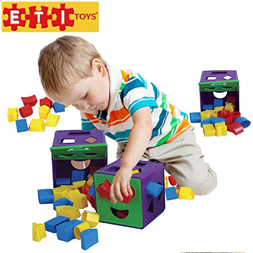 ETI Toys – 19 Piece Shape Sorter Cube with Multiple Color Shapes for Sorting