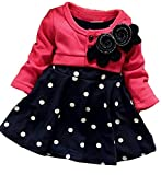 OURS Baby Girls Princess One Piece Flower Dot Dress