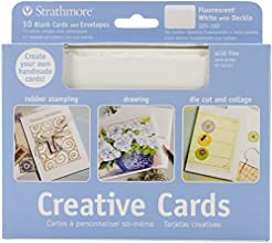 Strathmore Blank Greeting Cards with Envelopes Fluorescent White with Same Deckle Pack of 10 ST105-1