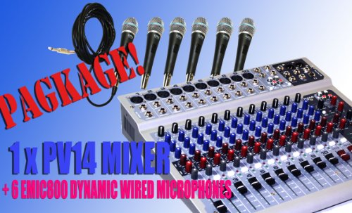 Package Peavey Pv14Usb 14-Channels Mixing Recording Console With Usb And Dsp Effects + 6 Wired Micorphones