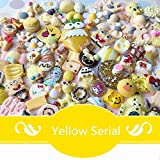 AMOBESTER 50PSC DIY Craft Resin Flatback Button Assorted Size Sunshine Yellow Serial