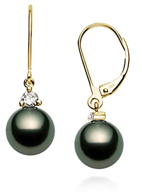 18k Yellow Gold AAA Quality Black Tahitian Cultured Pearl Diamond Leverback Dangle Earrings