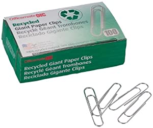 Officemate Recyled Giant Paper Clips, Pack of 10 Boxes of 100 Clips Each (99964)
