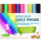 Chalk Markers -- Yukiss® Vibrant Liquid Chalk Pens: 10 Pack with 6mm Reversible Tip + 4 Free Tips + 8 Free Chalk Labels (Super Chalk, Your Best Choice of Chalk Pen and Liquid Chalk Markers)