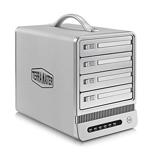 TerraMaster F4-NAS - 4 Bay NAS-Server Personal Cloud Storage Festplattengehäuse mit bis zu 16TB Kapazität (RAID, Marvell 6282, 1,6GHz, 4x 8,9 cm (3,5 Zoll), RJ-45, USB 2.0)