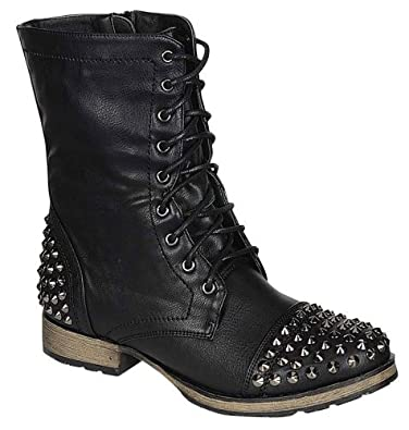 Awesome New Womens FA33 Black Studded Spike Mid Calf Military Combat Boots Sz