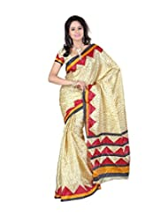 Alethia Red Art Silk Casual Wear Printed Sarees Without Blouse Piece