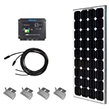 Solar Panel Starter Kit 100W Monocrystalline:100W Solar Panel UL 1703 Listed+2 20' Solar cables+PWM 30A Charge Controller+ Uniquely Designed Z Bracket Mounts