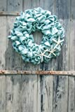 Hinterland Trading Nautical Blue Burlap Wreath with White Finger Starfish, 22-Inch