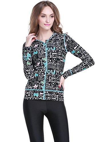 Long-Sleeve Full Zip-Up Rush Guard for Women