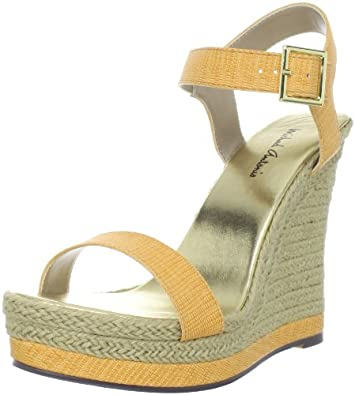Michael Antonio Women's Goldy-Rep Wedge Sandal,Mustard,8 M US