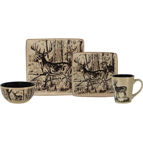 Rivers Edge Products Deer Dinnerware Set (16-Piece), Beige