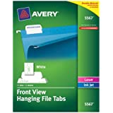 Avery Self-Adhesive Printable Hanging File Tabs, Laser/Inkjet, 1/5 Cut, White, Pack of 90  (5567)