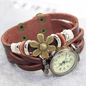 JN® Flower Sense Retro Wrap Around Weave Leather Watch Bracelet WristWatch Wristband