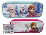 Set of 2 Disney Officially Licensed Frozen Elsa and Anna Single Zipper Pouch Pink and Blue Pencil Case