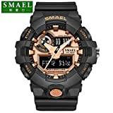 SMAEL AL35 Men's Sports Analog Digtal Wrist Watch Dual Quartz Movement Military Time Water Resistant with Backlight (Gold) (Color: Gold)