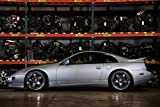 Nissan 300ZX Z32 Silver Left Side on VOLK Wheels 2JZ-GTE HD Poster 24 x 16 Inch Print