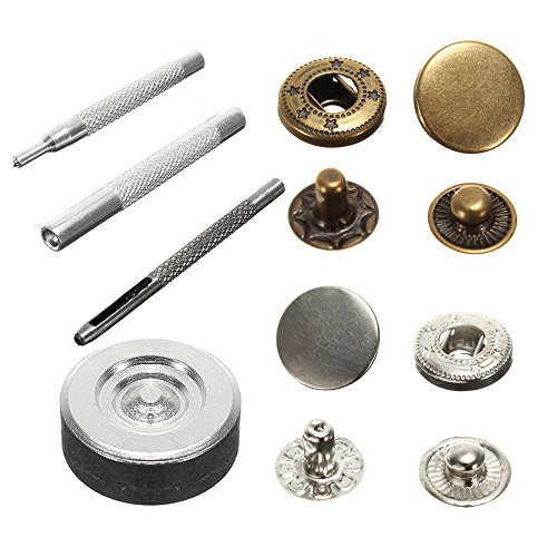Snaps Sewing Metal 10mm Press Studs Snap Fasteners Poppers Sewing Clothing Buttons Kit Craft Leather 2 Color 15 Sets 1 Package (Clothing Snap Repair Kit compare prices)
